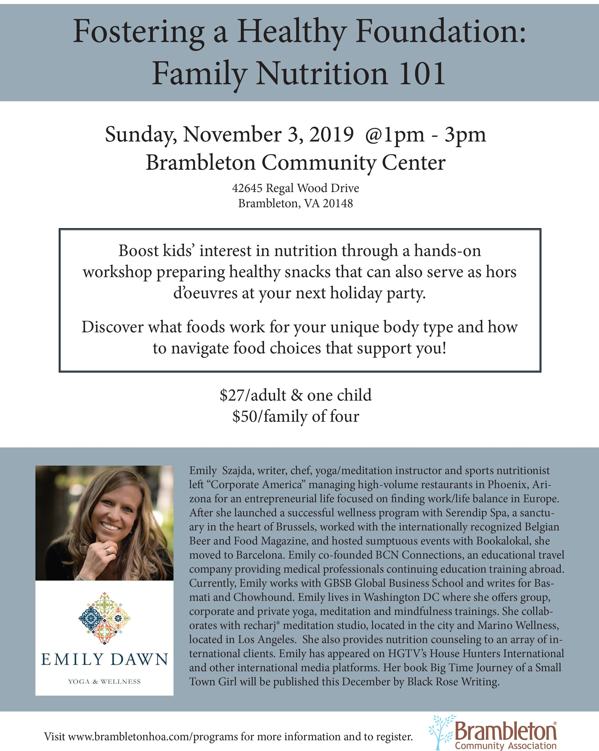 Family Nutrition Workshop Flyer - Emily Dawn